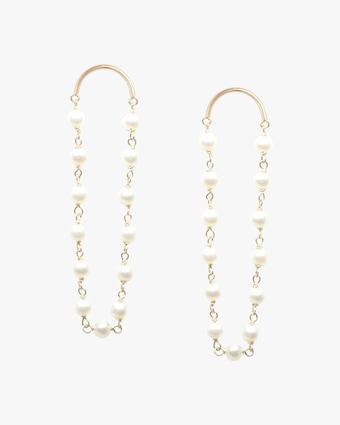 Poppy Finch Crescent Long Pearl Drop Earrings 1