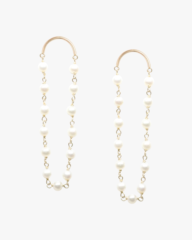 Poppy Finch Crescent Long Pearl Drop Earrings 1