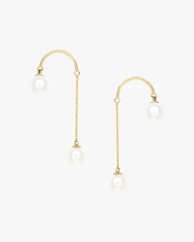 Crescent Hi-Low Short Pearl Drop Earrings