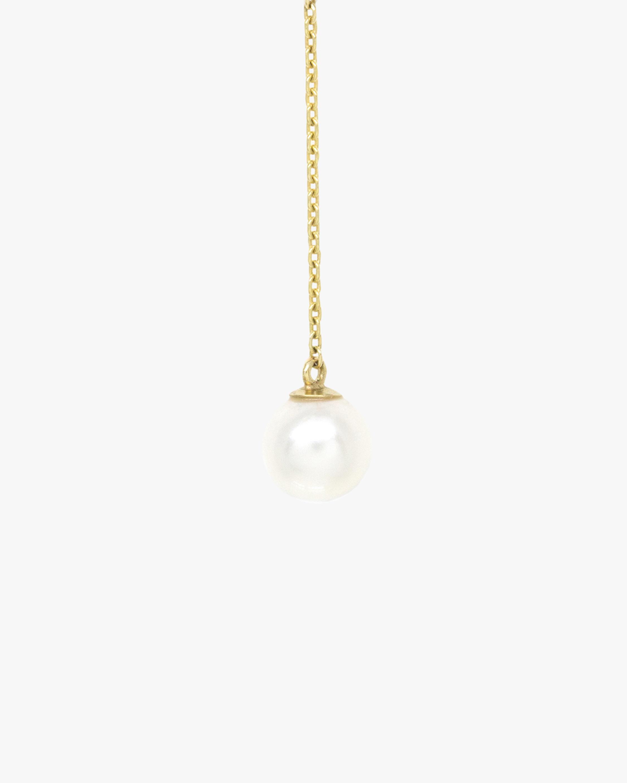 Poppy Finch Crescent Hi-Low Short Pearl Drop Earrings 1