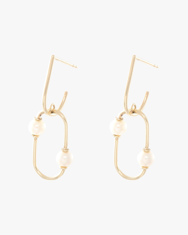 Pearl Oval Dangle Earrings