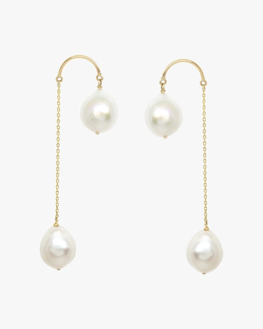 Poppy Finch Crescent Hi-Low Pearl Drop Earrings 0