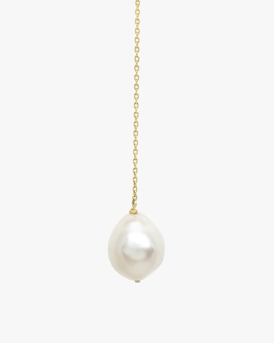 Poppy Finch Crescent Hi-Low Pearl Drop Earrings 1