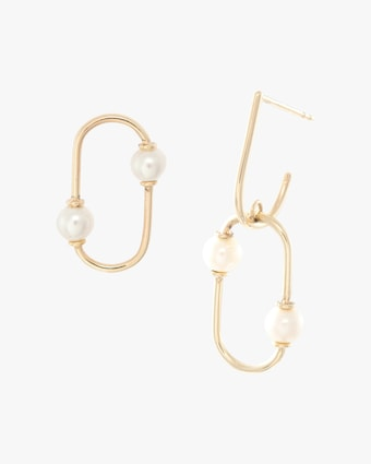 Mismatched Pearl Oval Earrings