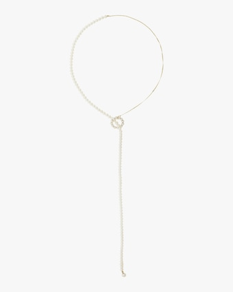 Pearl Circle Lariat Necklace