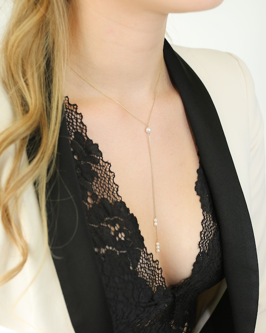 Poppy Finch Pearl Dangle Double Lariat Necklace 1