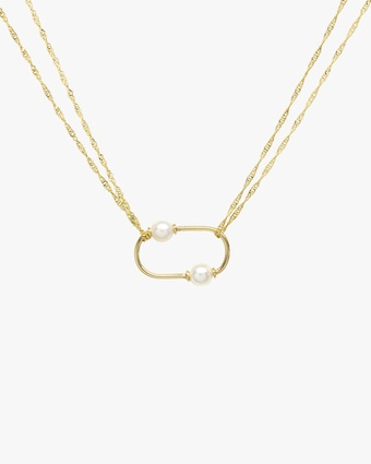 Oval Pearl Pendant Necklace