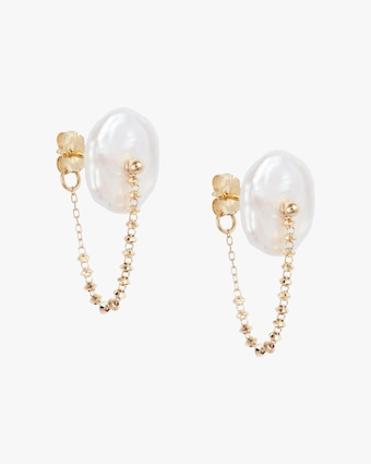 Poppy Finch Petité Petal Pearl Wrap Around Earrings 1