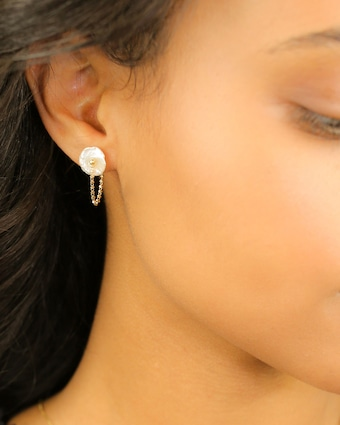 Petité Petal Pearl Wrap Around Earrings
