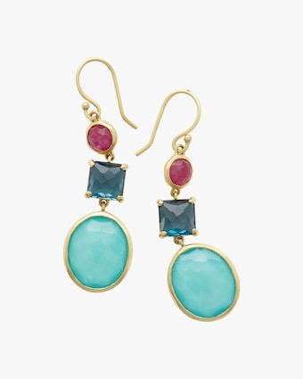 Rock Candy 3-Stone Drop Earrings