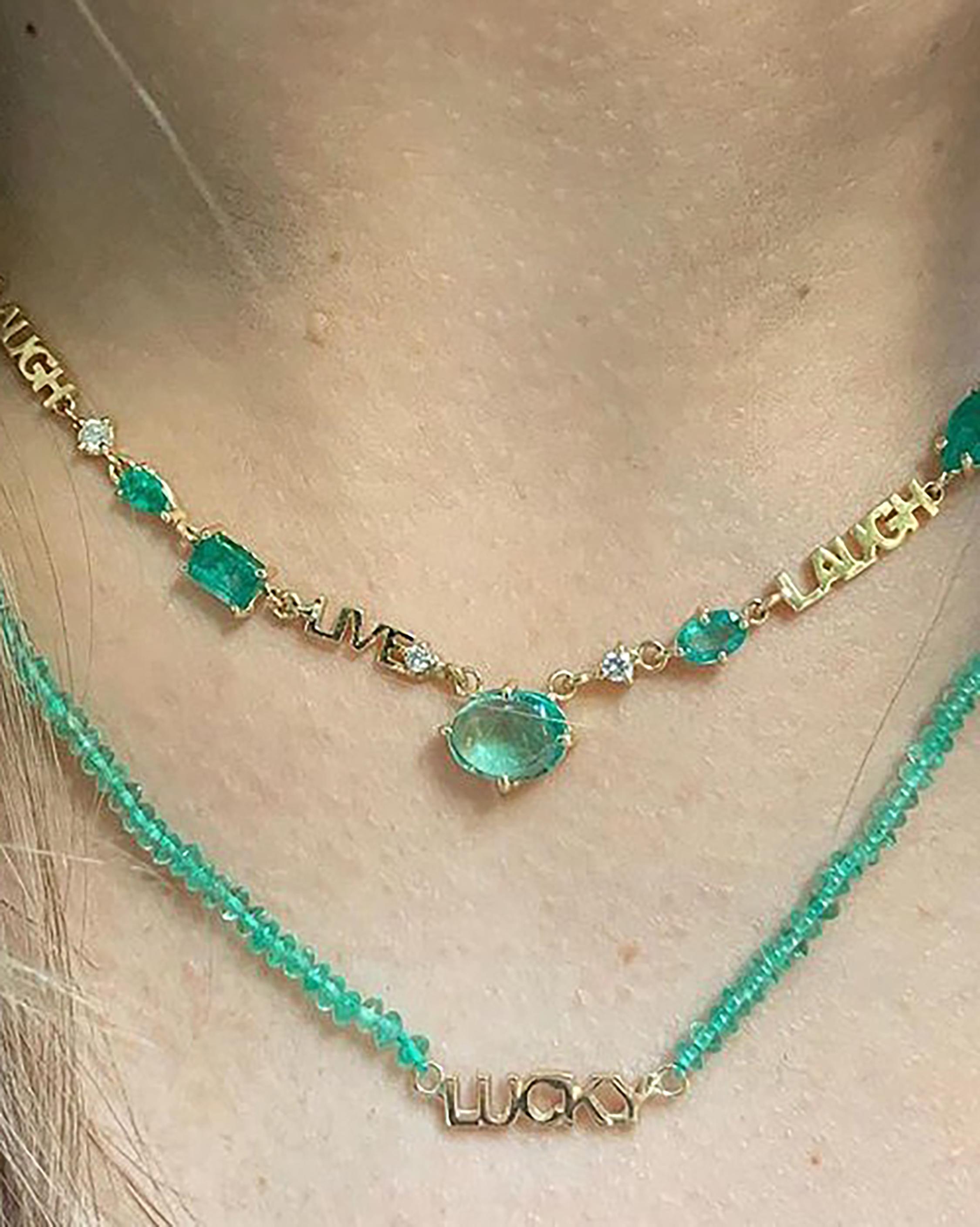 Eden Presley Emerald Live, Laugh, Love Necklace 1