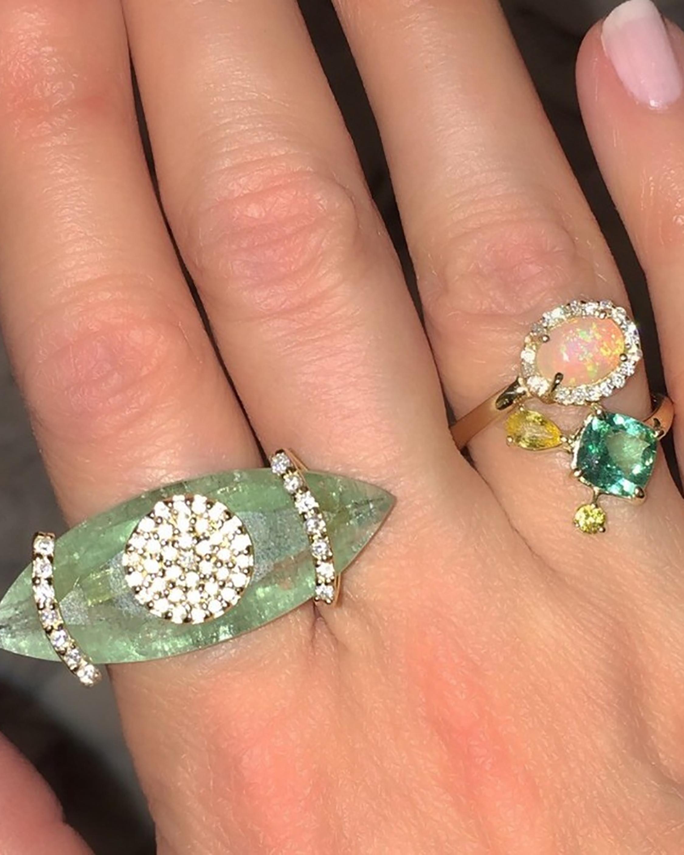 Opal Bypass Ring