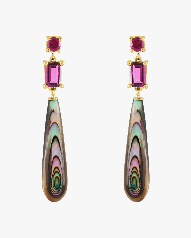 Rhodolite Garnet & Abalone Drop Earrings