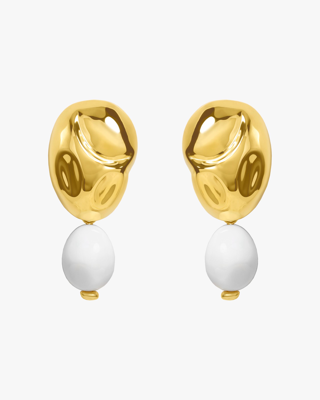 Oriente White Onyx Drop Earrings