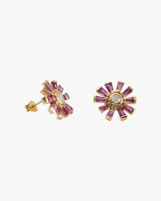Yi Collection Diamond & Ruby Daisy Earrings 0