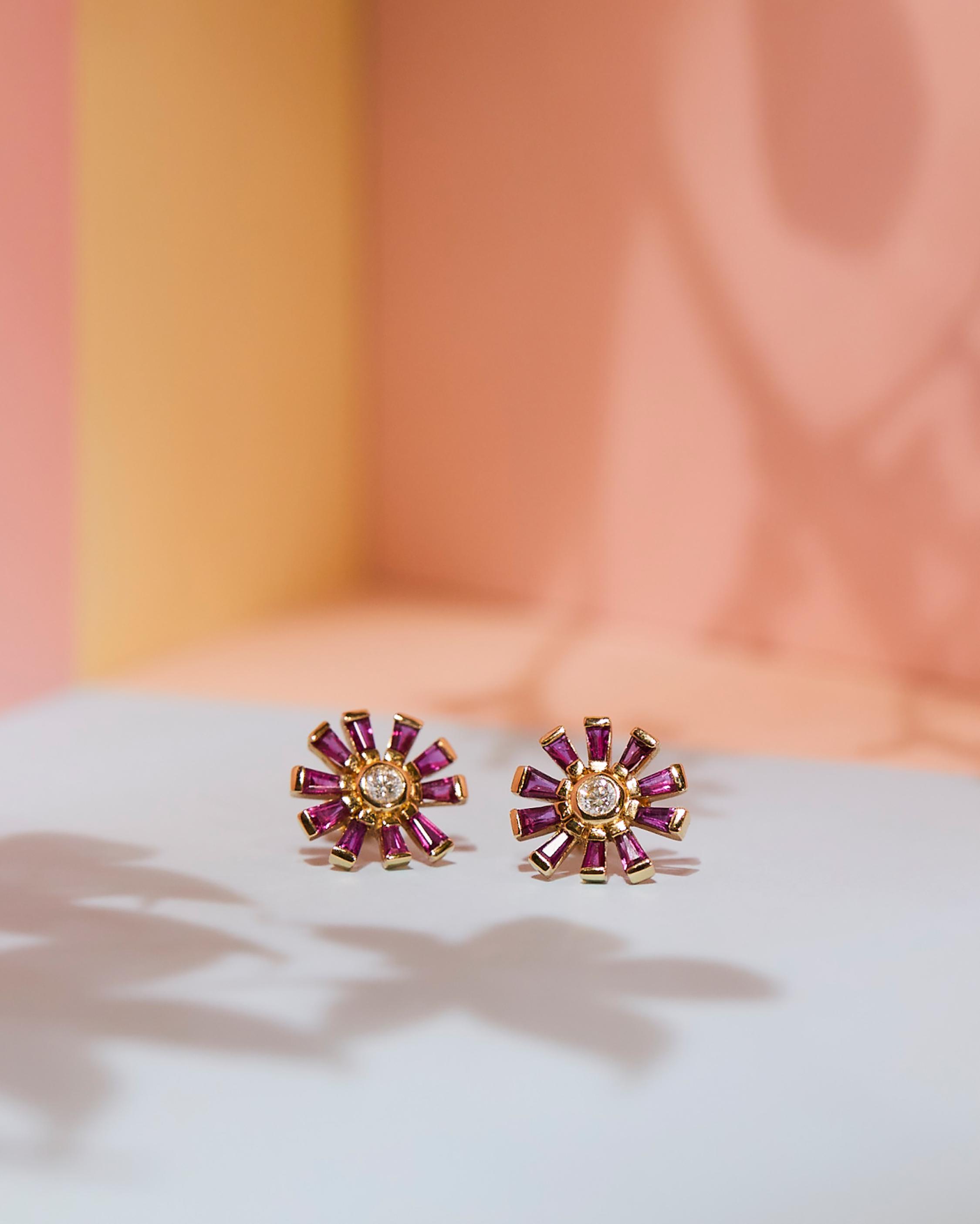 Diamond & Ruby Daisy Earrings