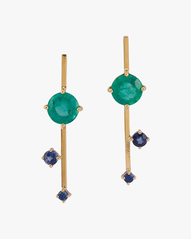 Emerald & Sapphire Sticks Earrings
