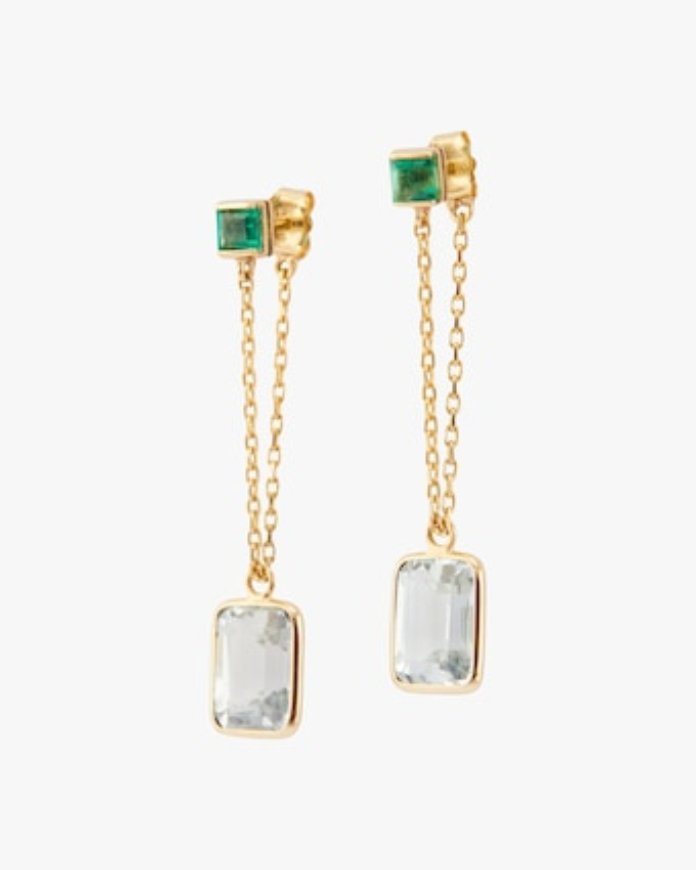 Emerald & Topaz Chain Earrings