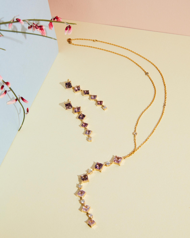 Spinel & Diamond Cascade Earrings