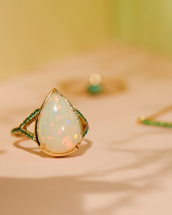 Yi Collection Opal & Emerald Dewdrop Ring 2