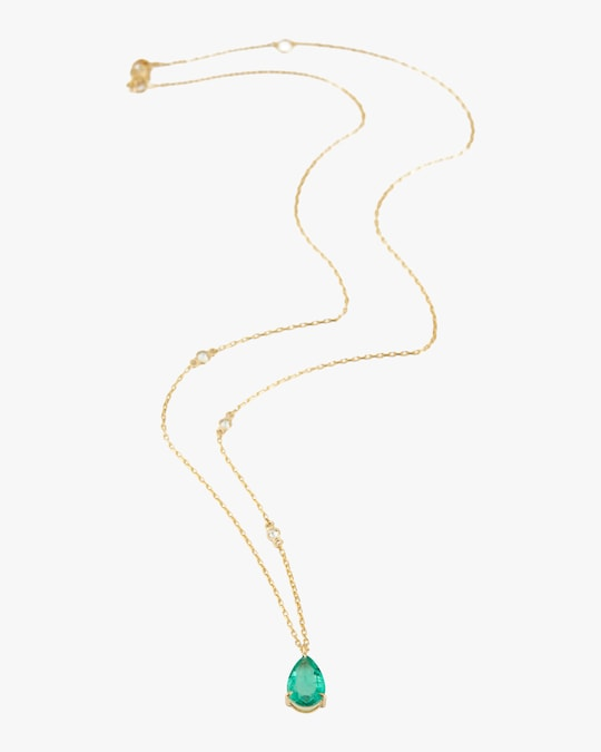 Yi Collection Emerald Dewdrop Pendant Necklace 0