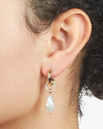 Carolee Eden Huggie Hoop Drop Earrings 2