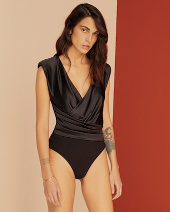 Else Power Shoulder Silk Wrap Bodysuit 2