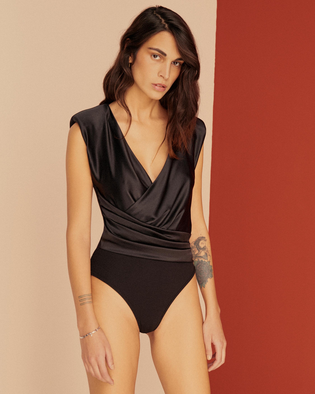 Else Power Shoulder Silk Wrap Bodysuit 1