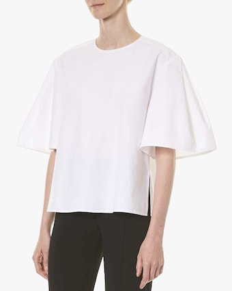 Pleated Sleeve Crewneck Tee