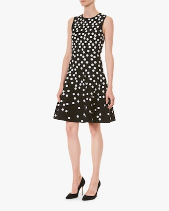 Carolina Herrera Fit & Flare Sleeveless Jacquard Dress 2