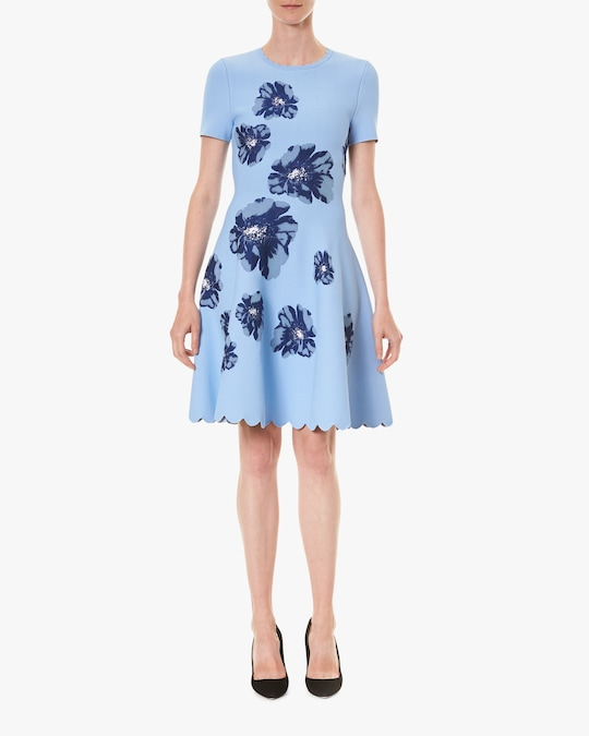 Carolina Herrera Fit & Flare Jacquard Dress