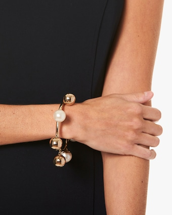Faux Pearl & Gold Ball Bangle