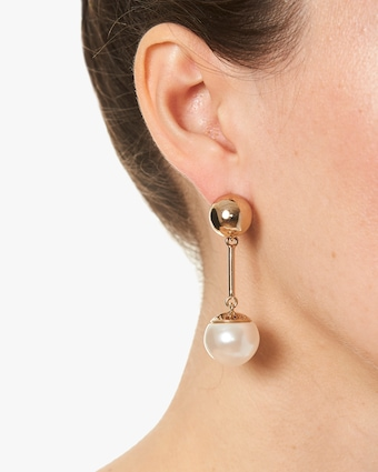 Small Faux Pearl Drop Earrings