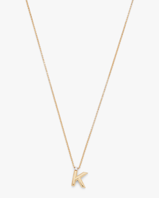 Princess Diamond Initial Pendant Necklace