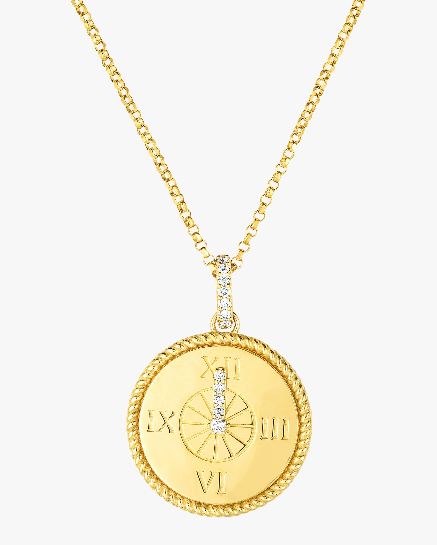 Roberto Coin CINDERELLA CLOCK PENDANT NECKLACE | YELLOW GOLD/DIAMOND