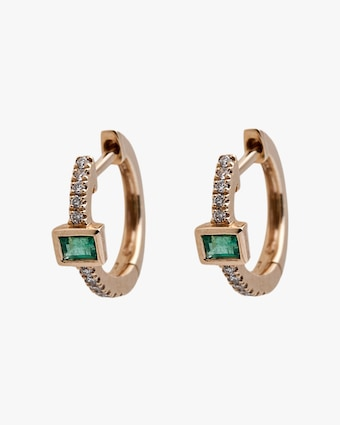 Jacquie Aiche Baguette Emerald Mini Hoop Earrings 2