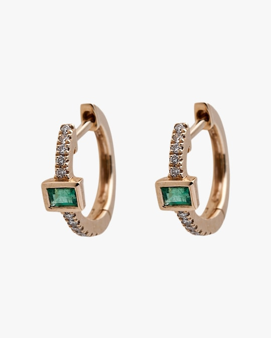 Jacquie Aiche Baguette Emerald Mini Hoop Earrings 0