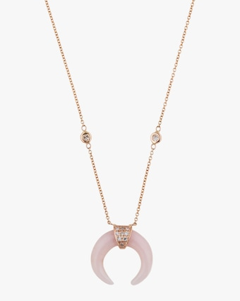 Rose Quartz Double-Horn Pendant Necklace
