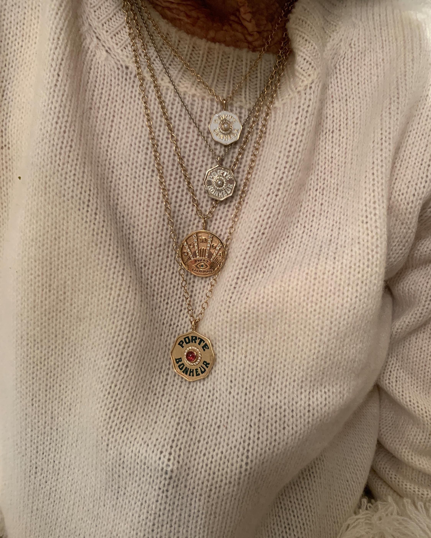 Marlo Laz Mini Porte Bonheur Sapphire Coin Pendant Necklace 1