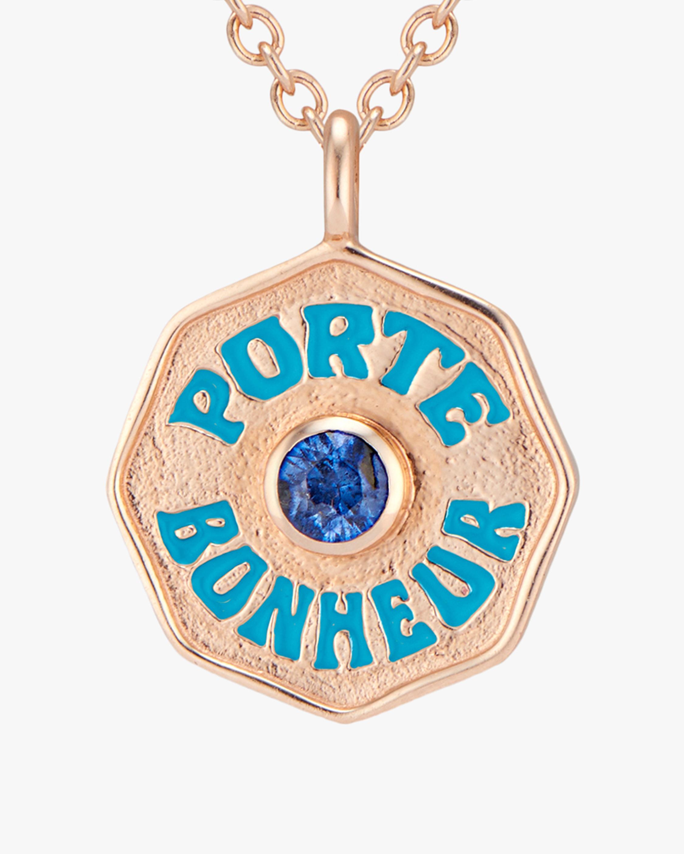 Marlo Laz Mini Porte Bonheur Sapphire Coin Pendant Necklace 2