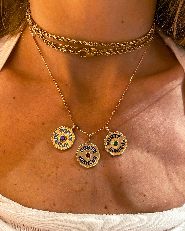 Marlo Laz Large Porte Bonheur Coin Pendant Necklace 2