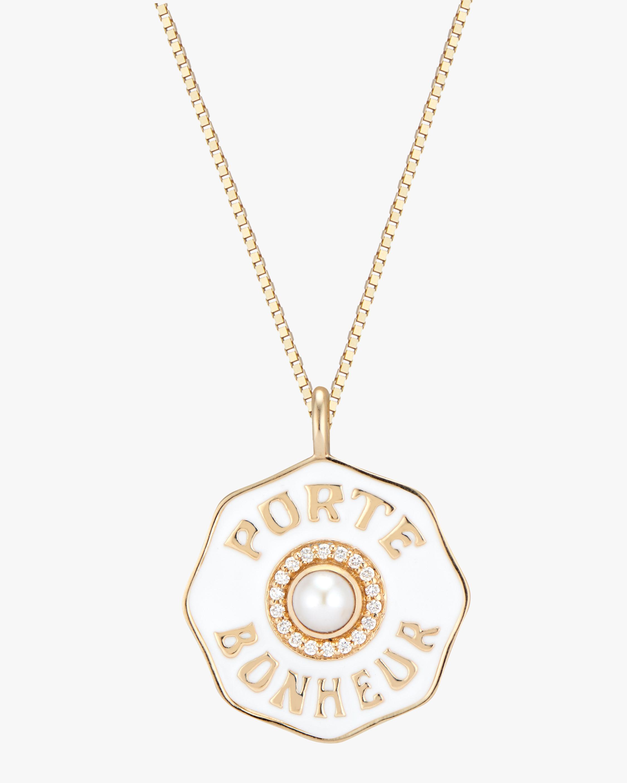 Marlo Laz Porte Bonheur Pearl Coin Pendant Necklace 0