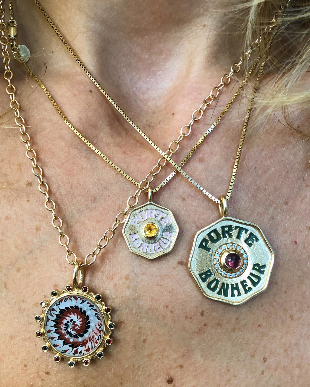 Mini Porte Bonheur Citrine Coin Pendant Necklace