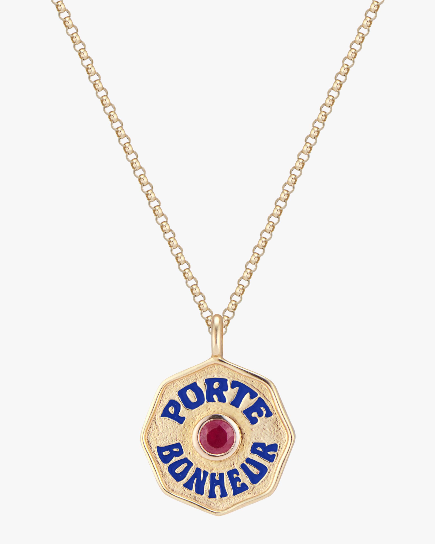 Marlo Laz Mini Porte Bonheur Ruby Coin Pendant Necklace 0