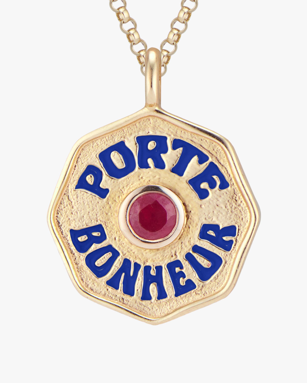 Marlo Laz Mini Porte Bonheur Ruby Coin Pendant Necklace 2