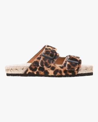 Manebi Hamptons Leopard Double-Buckle Slide 1