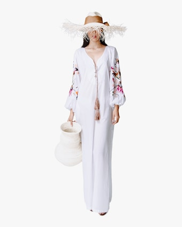 Puffy-Sleeve Maxi Dress