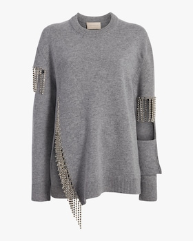 Cut Out Cup Chain Sweater