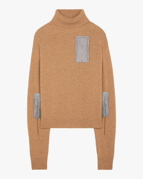 Slash-Sleeve Turtleneck Sweater
