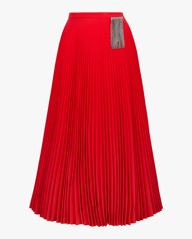 Crystal Fringe Pleated Skirt